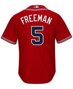 Majestic Men's Freddie Freeman Atlanta Braves Replica Jersey - Red S Famous Baseball Players, Braves Game, Team Names, Atlanta Braves, Sports Fan Shop, Shopping, Tops, Products, Gadget