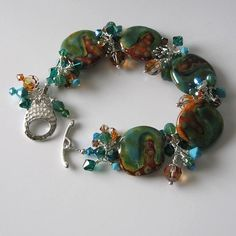 Kazuri bead bracelet turquoise and brown by PacificJewelryDesign, $120.00