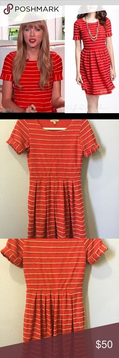 Anthropologie red striped dress by Bordeaux sz sm Small red striped dress by Bordeaux. Originally sold at Anthropologie. Slight pilling on the sleeve. Otherwise, it's in great condition.  Measurements:  Length (shoulder to hem): 35 inches Bust (at sleeve): 14 inches Anthropologie Dresses