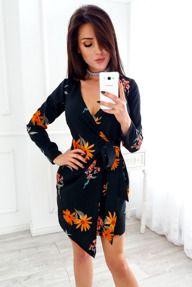 Czarna Sukienka W Pomaranczowe Kwiaty Z Wiazaniem