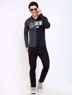 Black Printed Hooded Black,Charcoal T-Shirt