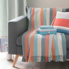 SAO stripe cotton fringed throw 160 x 210cm