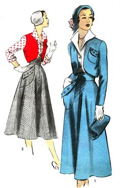 1950s Advance 5455 Womens High Waist Full Skirt Front Button Blouse Bolero Jacket Vintage Sewing Pattern Bust 32 Uncut