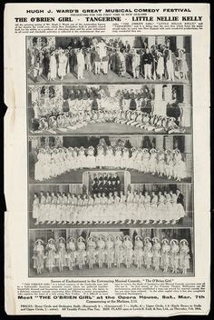 Flier shows on both sides arrangements of photographs of performers in Hugh J Ward's Musical Comedy festival. One side shows five group photographs. J Ward, Comedy Festival, March 7, Auckland, Printers, Orchestra, New Zealand, Opera House, Musicals