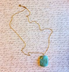 Turquoise stone on dainty gold chain wwww.piececlothingboutique.com