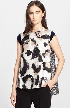 Max Mara 'Bosforo' Mix Print Silk & Twill Top available at #Nordstrom