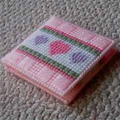 """Plastic Canvas: """"Three Hearts"""" Notepad Holder, notepad included -- ReadySetSewbyEvie, $6.50"""
