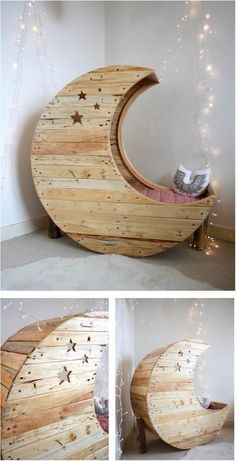 Cradle Made Out of Wooden Pallets This is a Moon shaped crib but I love the idea for making a Moon shaped reading chair.This is a Moon shaped crib but I love the idea for making a Moon shaped reading chair.