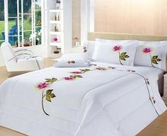Decorate your bedroom so that it gives you pleasure each time you go into it. Bed Sets, Comforter Sets, Duvet, Bed Cover Design, Floral Bedspread, Fabric Paint Designs, Bed Covers, Bed Spreads, Luxury Bedding