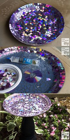 Don't throw out your old CDs because they can be turned into many versatile and creative items. In this picture, I have shown you DIY mosaic birdbath that has been made from old CDs. Even you would not have to buy a base to create this birdbath you can take any old plate as a base. It is a cheap yet beautiful idea to attracts the birds. Cd Mosaic, Mosaic Birdbath, Mosaic Birds, Mosaic Garden, Mosaic Crafts, Mosaic Projects, Diy Projects, Cd Crafts, Diy And Crafts