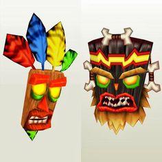 Paper models of Aku Aku and Uka Uka from Crash Nitro Carts
