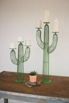 All Candle Holders - Kalalou Set of Two Wire Cactus Candle Holders The Effective Pictures We Offer You About Cactus room - Cactus Candles, Cactus Ceramic, Diy Home Decor, Room Decor, Romantic Candles, Cactus Decor, Cactus Cactus, Southwest Decor, Festa Party