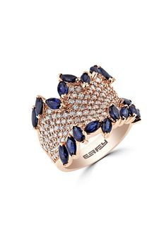 Effy 14K Rose Gold Blue Sapphire and Diamond Ring, 4.66 TCW - Final Call - Specials
