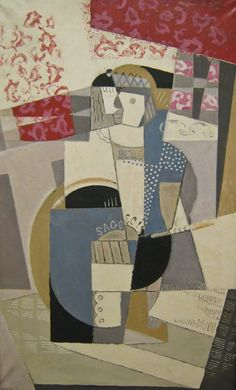 """Maria Blanchard, """"Sois Sage"""" o """"Juana de Arco"""" (1917, óleo sobre lienzo, 140 x 85 cm, Centre Pompidou, París)."""