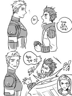 By @4577p on Twitter - CUTE! based off the avengers academy. I assume that high school tony is meeting regular steve and high school steve is a bit angry about that ahaha