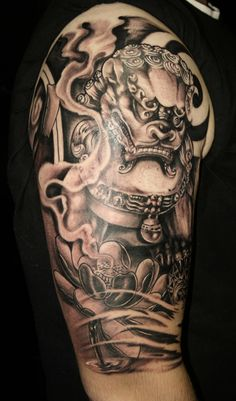 Black & grey half sleeve tattoo