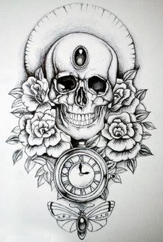 Skull by Lowther at Skull Tattoo Design, Skull Tattoos, Tattoo Designs, Line Tattoos, Tattoos For Guys, Tattoo Sketches, Tattoo Drawings, Tattoo Studio, Meaningful Word Tattoos