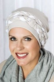 double braid turban in grey and white for cancer patients with hair loss