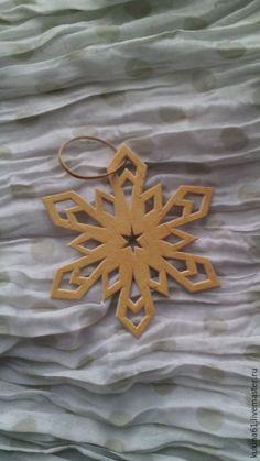 Купить снежинка №9 - бежевый, елочные игрушки, елочные украшения, елочная игрушка, елочное украшение