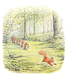 "The Tale of Squirrel Nutkin', 1903 -- Beatrix Potter. ""Twinkleberry and six other little squirrels each carried a fat minnow; but Nutkin, who had no nice manners, brought no present at all. He ran in front, singing --... But old Mr. Brown took no interest in riddles."""