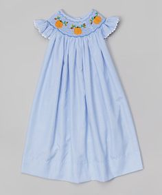 Another great find on #zulily! Blue Gingham Pumpkin Smocked Dress - Infant & Toddler by Smocked or Not #zulilyfinds