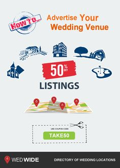 your venue listed for 50%... get more wedding business with our wedding directory of wedding venues #weddinglocations http://www.wedwide.com/create