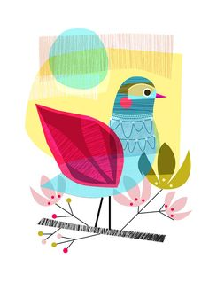 INDIAN SUMMER bird Ellen Giggenbach print by EllenGiggenbach