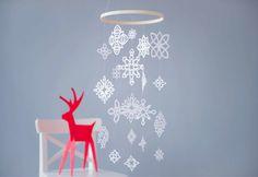 Tutoriel bricolage hivernal: mobile de flocons de neige