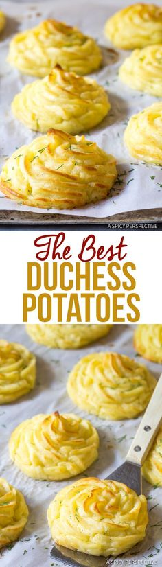 The Best Duchess Potatoes - An easy Baked Mashed Potatoes Recipe with a golden crisp crust and a silky interior. Thanksgiving Recipes, Holiday Recipes, Best Dinner Recipes Ever, Best Potato Recipes, Fancy Dinner Recipes, Holiday Meals, Summer Recipes, Vegetable Dishes, Vegetable Recipes