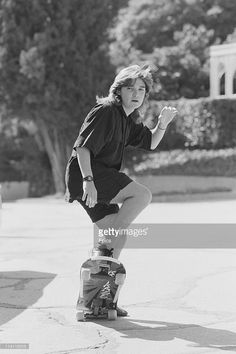 American television and film actor Corey Feldman poses on a skateboard for a magazine shoot, United States, circa Iconic Movie Posters, Iconic Movies, Corey Feldman Corey Haim, Old School Movies, The Lost Boys 1987, Girls Time, Young Actors, Aesthetic Movies, Cute Actors