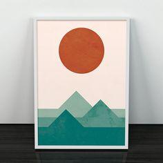 Imprimer des montagnes, aquarelle imprimer, sticker géométrique, design scandinave, publicité de Nature, affiche abstrait, décoration murale, impression soleil, moderne