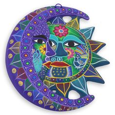Fair Trade Sun and Moon Ceramic Wall Art - Turquoise Floral Eclipse | NOVICA