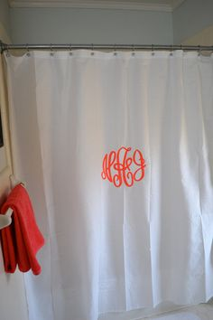 Monogrammed Shower Curtain // #LilAndGaines on #Etsy - #Monograms #MonogrammedShowerCurtain