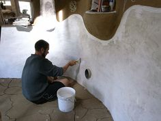 Lime Plaster and Lime Wash on Cob or Straw Bale Wall - The Year of Mud: Cob House & Natural Building