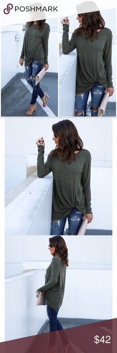 "🆕 Olive Knit Long Sleeve Side Twist Top Pre-Order will ship in approx. 10 business days. Basic closet essential top! Soft and comfortable and stylish with a fun side twist! Can be worn on or off shoulder.  Size Small: 30"" from shoulder to hem. 74% Rayon, 21% Polyester and 5% Spandex. Model is 5'4"" and wears a Small Tops Tees - Long Sleeve"