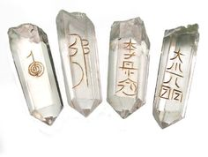 4 Beautiful Powerful Dr Usui Reiki Symbols Points Smalll Wands - Quartz Crystal Grid Healing Therapy