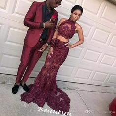 Burgundy Two Piece Lace Prom Dresses 2017 Sheer High Neck Sequined See Through Skirt Mermaid Long African Black Girls Evening Party Gowns Prom Dresses Floor Length Long Prom Dresses Custom Made Prom Dresses Online with $174.86/Piece on Beautyu's Store | DHgate.com
