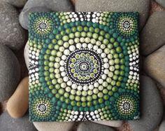 """Pintura de acrílico aborigen, Forest diseño, auténtico australiano punto arte pintura, por Raechel Saunders, arte de Biripi, 4 """"x 4"""", verde decoración"""
