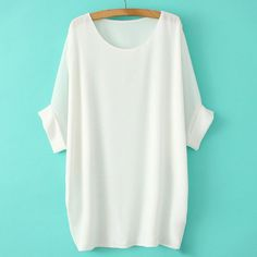 Solid Color Loose-Fitting Simple Style Scoop Collar Dolman Sleeve Chiffon Women's T-Shirt, WHITE, ONE SIZE in Tees & T-Shirts | DressLily.com