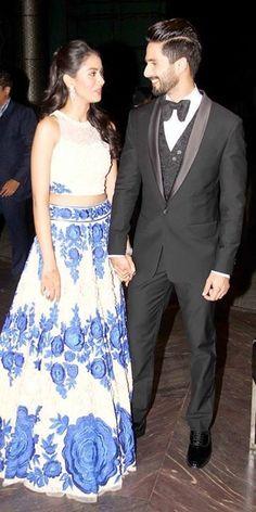 Shahid Kapoor and Mira Rajput at Their Wedding Reception. High Fashion, Womens Fashion, Fashion Trends, Mira Rajput, Shahid Kapoor, Hairstyle Look, Sherwani, Bridal Outfits, Fashion Fabric