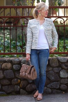 Jacket-Zara, Top-Gap, Jeans-c/o Paige denim, Handbag-c/o Botkier, Shoes-Me Too, Earrings-Martine Webster (similar)