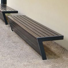 Contemporary public bench in wood and metal MONTGENÈVRE by Philippe GONNET AREA