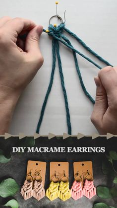super soft cord // instructions to make your own macrame earrings videos diy earrings Diy Crafts Hacks, Easy Diy Crafts, Diy Home Crafts, Diy Crafts Videos, Diy Arts And Crafts, Diy Videos, Diys, Diy Crafts For Adults, Crafts To Make And Sell