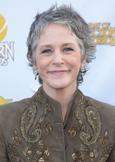 Melissa McBride - this short silver crop looks fabulous on her! Better than ever! #ageless #beauty