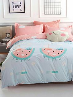 Luxury Bedding Sets On Sale Cute Room Ideas, Cute Room Decor, Kids Bedding Sets, Luxury Bedding Sets, Gold Bedroom, Bedroom Decor, Bedroom Ideas, Kawaii Bedroom, Girl Bedroom Designs
