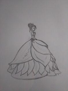 Tiana by Tiffany Zimmerman Emoji Drawings, Girly Drawings, Pencil Art Drawings, Disney Drawings, Easy Drawings, Dress Design Drawing, Girl Drawing Sketches, Dancing Drawings, Art Drawings Beautiful