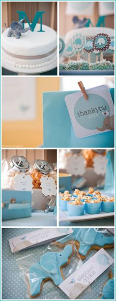 Little Elephant Birthday Themed Party - I like the closed jar idea for candy since the party will be outside.