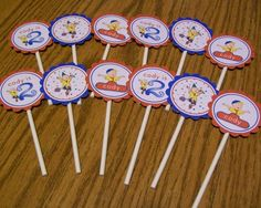 Caillou Cupcake Toppers Party Circles Decorations - Ready Made - Personalized - Set of 12 | DesignedForUniqueYou - Paper