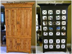 From Country Girl to Hollywood Chic: Armoire Makeover looks cool Rustic Furniture, Painted Furniture, Home Furniture, Stain Furniture, Furniture Ideas, Armoire Makeover, Furniture Makeover, Armoire En Pin, Laminate Furniture