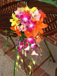 Let's see your cascade bouquet! :  wedding cascade bouquet Tropical Wedding Bouquets